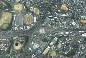 現在の飛び地付近(Google Earth)