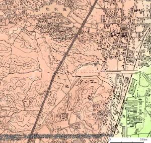 1967年改測の地形図における八丁池
