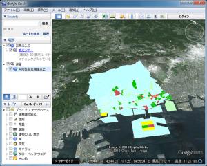 Google Earth上に表示された統計地図