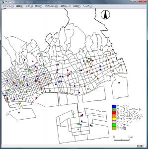 ポイント分布の背景に小地域地図