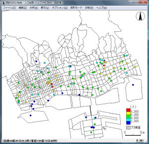 階級区分によるバッファ分析結果の地図化