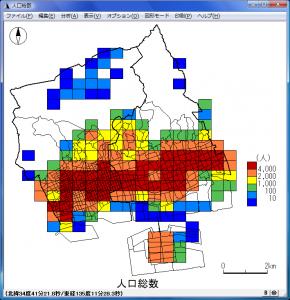 500mメッシュ単位の人口分布図