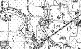 正式2万分1地形図「茨木」にみられる安威川と茨木川。
