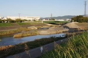 安威川と茨木川の合流地点。