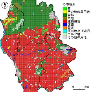 土地利用細分メッシュを利用した土地利用分布図