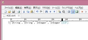 テキストエディタでデータ型の定義を入力。