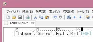 CSVTファイルの内容。