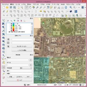 背景地図としてBingの空中写真を表示。