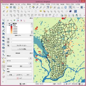 土地利用細分メッシュのカラーマップ。