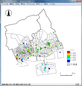 階級区分によるバッファ分析の地図化(500mメッシュ人口使用)