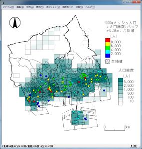 バッファ分析結果の地図と500mメッシュ人口地図の重ね合わせ